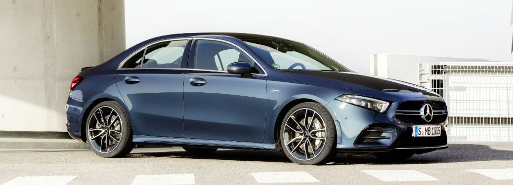 2020 MB A-Class sedan exterior front fascia and passenger side near crosswalk