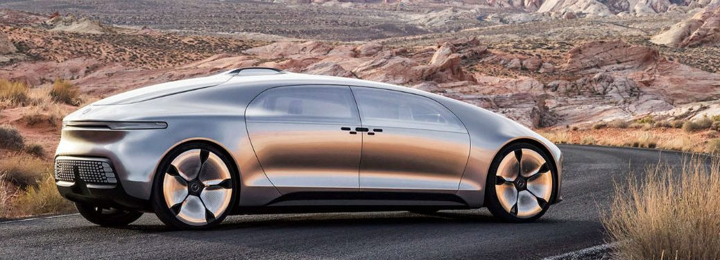 2020 F 015 exterior back fascia and passenger side on desert road