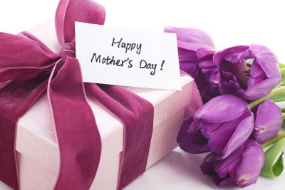 Happy Mothers Day gift with purple flowers