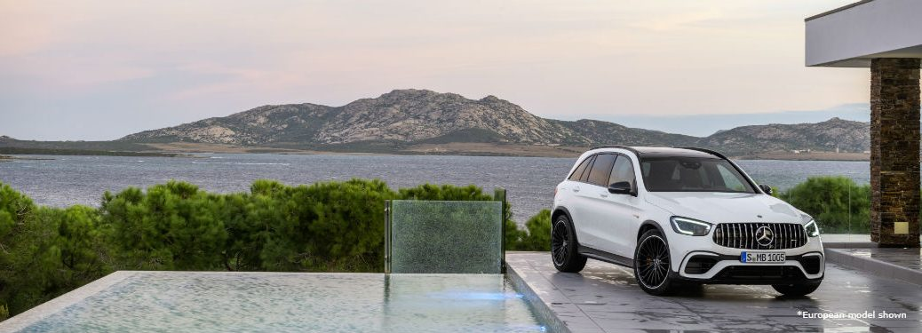2020 MB GLC SUV exterior front fascia and passenger side on house parking space overlooking lake