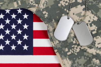 Close up of military uniform on flag with dog tags