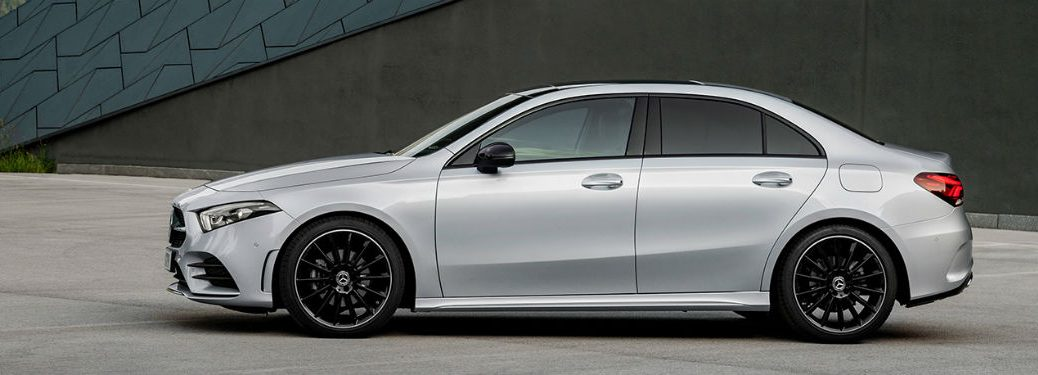 2019 MB A-Class sedan driver side profile in empty lot