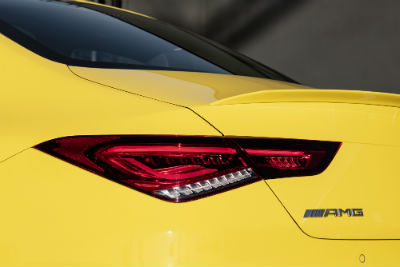 2020 MB CLA exterior angled view of back fascia taillight and AMG badge