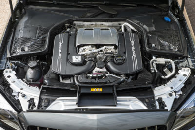 2019 MB AMG C 63 S exterior looking down at exposed engine