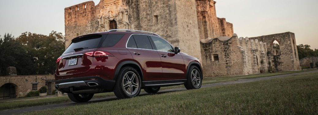 2020 MB GLE exterior back fascia and passenger side in front of castle