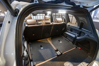 2020 MB GLB interior cargo space with 2nd and 1st row upright