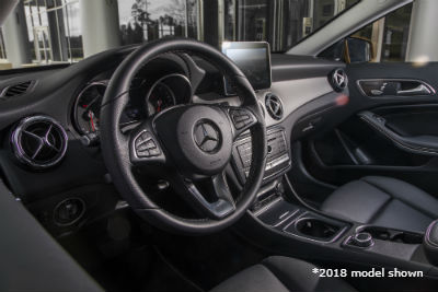 2018 MB GLA interior front cabin steering wheel dashboard and partial seats