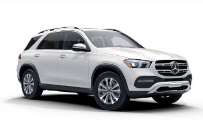 Polar White 2020 MB GLE exterior front fascia and passenger side on white background