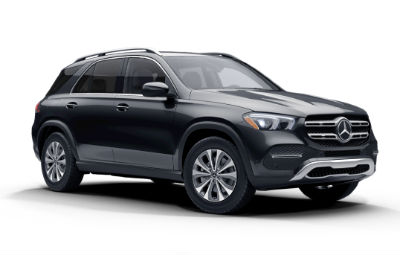 Obsidian Black Metallic 2020 MB GLE exterior front fascia and passenger side on white background