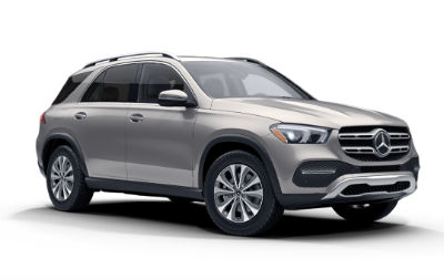 Mojave Silver Metallic 2020 MB GLE exterior front fascia and passenger side on white background