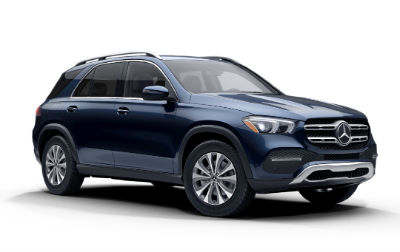 Lunar Blue Metallic 2020 MB GLE exterior front fascia and passenger side on white background