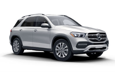 Iridium Silver Metallic 2020 MB GLE exterior front fascia and passenger side on white background