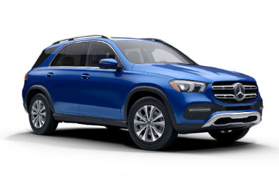 Brilliant Blue Metallic 2020 MB GLE exterior front fascia and passenger side on white background