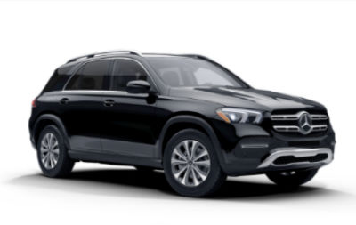 Black 2020 MB GLE exterior front fascia and passenger side on white background