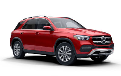designo Cardinal Red Metallic 2020 MB GLE exterior front fascia passenger side on white background