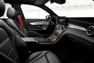 2020 MB GLC SUV interior front cabin steering wheel and dashboard_