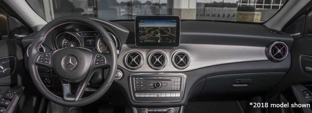2020 MB GLA interior front cabin steering wheel display screen dashboard