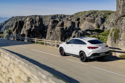 2021 MB AMG GLE Coupe exterior back fascia and driver side going fast on highway