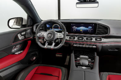 2021 MB AMG GLE Coupe interior front cabin steering wheel and touchscreen with red seats