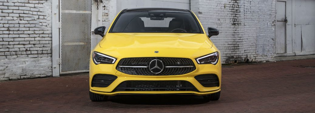 2020 MB CLA exterior front fascia in front of dirty mesh- door
