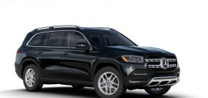 black 2020 MB GLS exterior front fascia and passenger side
