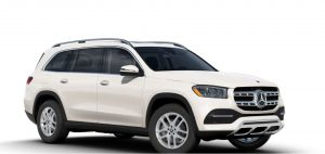 designo white diamond metallic 2020 MB GLS-exterior front fascia and passenger side