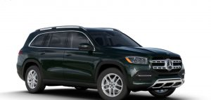 emerald green metallic 2020 MB GLS exterior front fascia and passenger side
