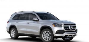 iridium silver metallic 2020 MB GLS exterior front fascia and passenger side