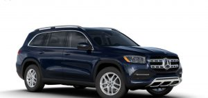 lunar blue metallic 2020 MB GLS exterior front fascia and passenger side