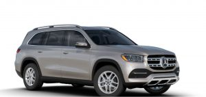 mojave silver metallic 2020 MB GLS exterior front fascia and passenger side