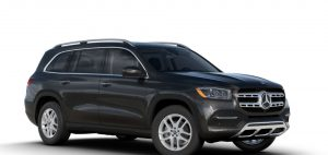 obsidian black metallic 2020 MB GLS exterior front fascia and passenger side