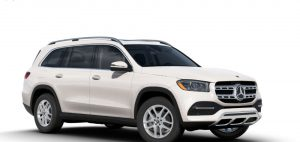 polar white 2020 MB GLS exterior front fascia and passenger side