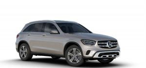 Mojave Silver Metallic 2020 MB GLC exterior front fascia and passenger side