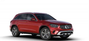 designo Cardinal Red Metallic 2020 MB GLC exterior front fascia and passenger side