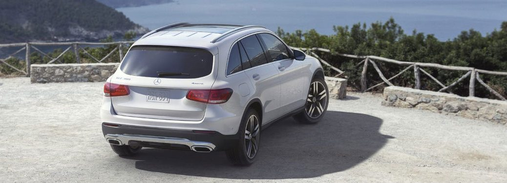 2020 MB GLC SUV exterior back fascia and passenger side overlooking ocean