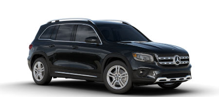 Night Black 2020 MB GLB exterior front fascia and passenger side on white background