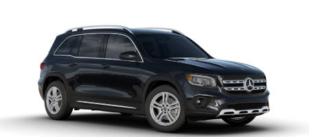 Cosmos Black metallic 2020 MB GLB exterior front fascia and passenger side on white background