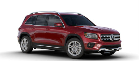 Patagonia Red metallic 2020 MB GLB exterior front fascia and passenger side on white background