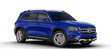 Galaxy Blue metallic 2020 MB GLB exterior front fascia and passenger side on white background