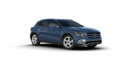 Denim Blue metallic 2020 MB GLA exterior front fascia passenger side