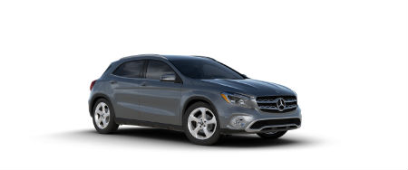 Mountain Grey metallic 2020 MB GLA exterior front fascia passenger side