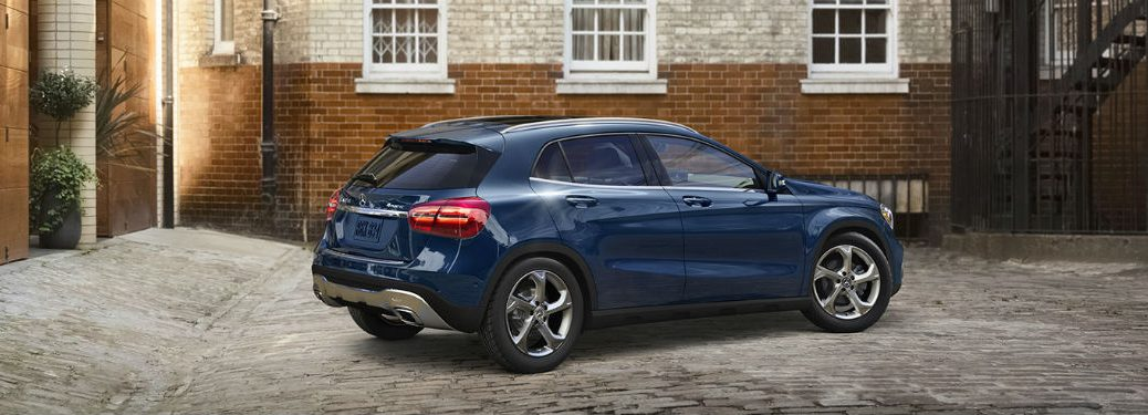 2020 MB GLA SUV exterior back fascia passenger side in courtyard