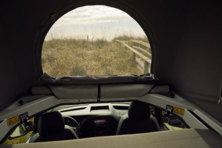 MB Weekender Camper van interior top room with window and sunroof