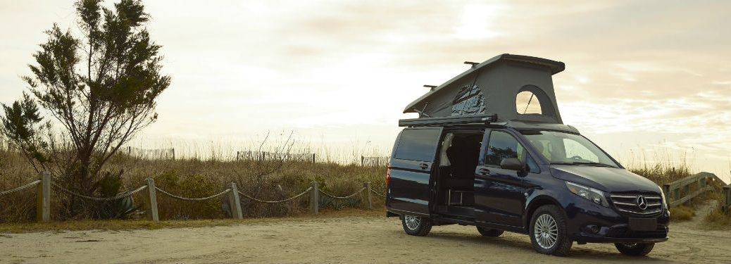 Mercedes-Benz Weekender Camper Van exterior front fascia passenger side in front of field