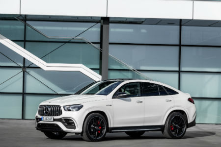 2021 MB AMG GLE 63 S Coupe exterior front fascia driver side in front of building windows