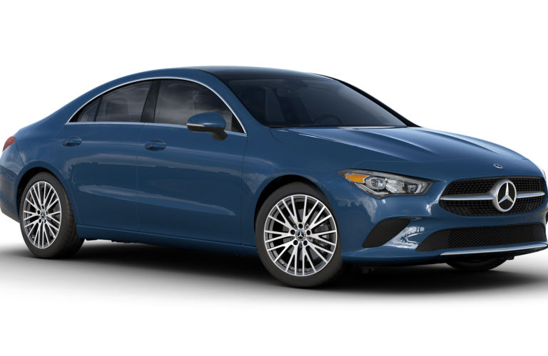 Denim Blue Metallic 2020 MB CLA exterior front fascia passenger side