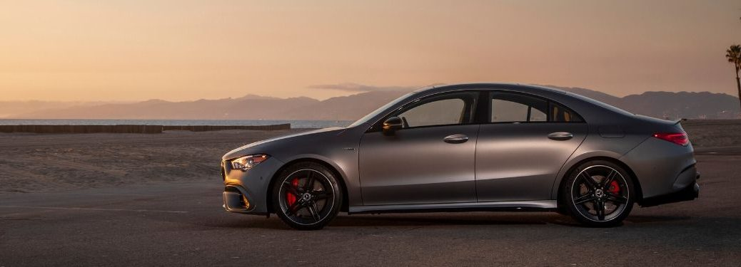 2020 MB CLA exterior driver side profile with sunset