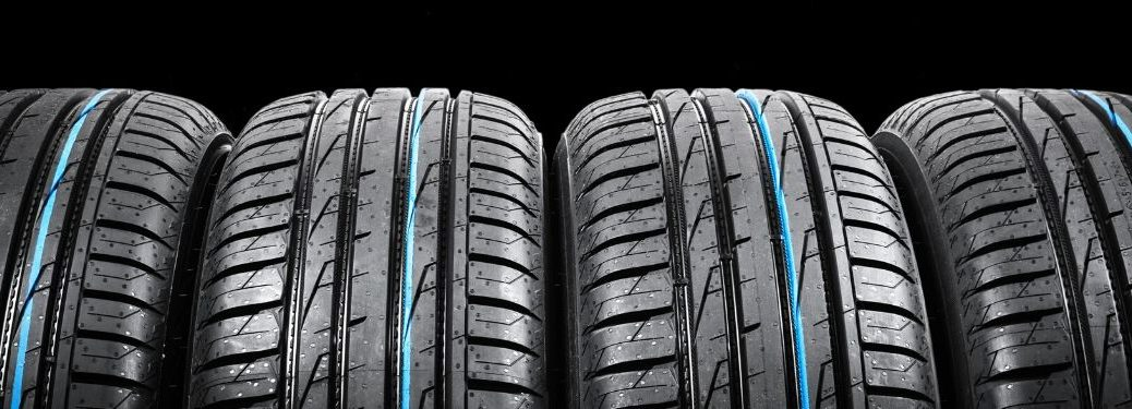 4 tires with blue streak lined up