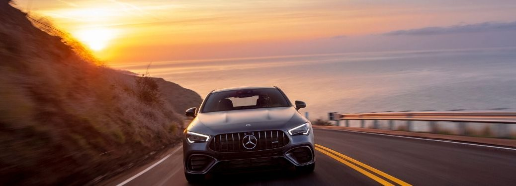 2020 MB CLA exterior front fascia on highway with sun