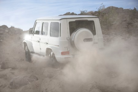 2020 MB G-Class exterior rear fascia driver side off road kicking up dust